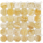 Honey Onyx Octagon with White Dots Polished Mosaic Tile - TILE AND MOSAIC DEPOT