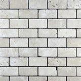 Ivory Travertine 1x2 Tumbled Mosaic Tile - TILE AND MOSAIC DEPOT