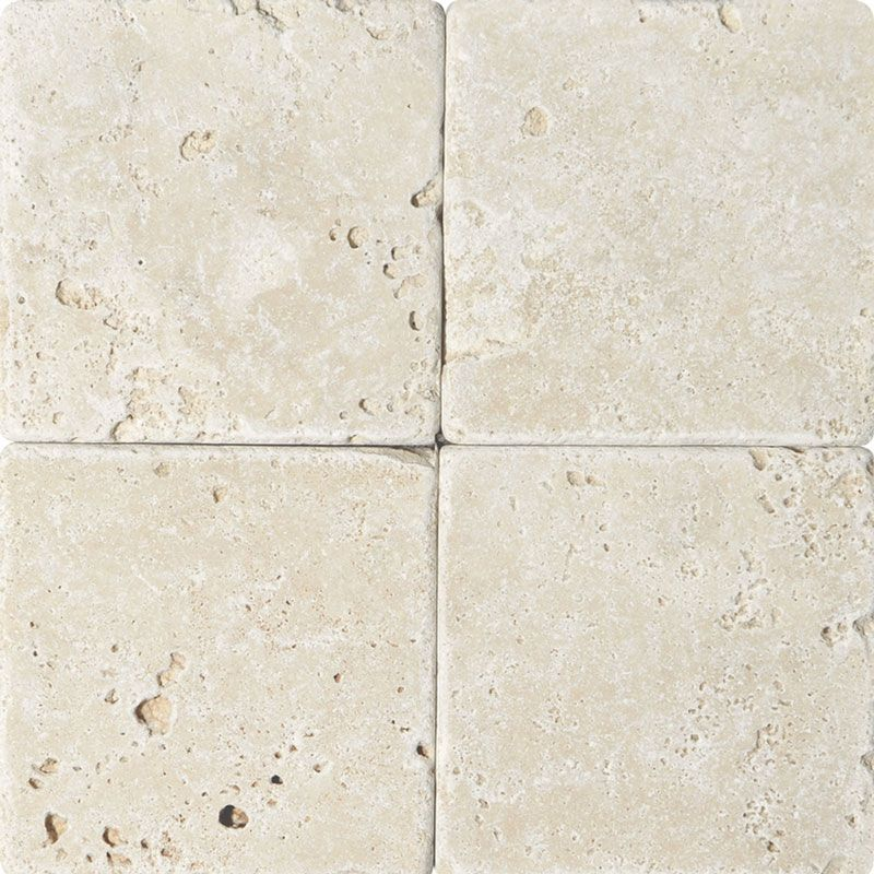 Ivory Travertine 6x6 Tumbled Tile - TILE AND MOSAIC DEPOT