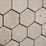 Ivory Travertine 2x2 Hexagon Tumbled Mosaic Tile - TILE AND MOSAIC DEPOT