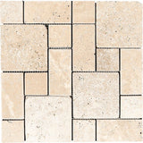 Ivory Travertine Mini Pattern Tumbled Mosaic Tile - TILE AND MOSAIC DEPOT