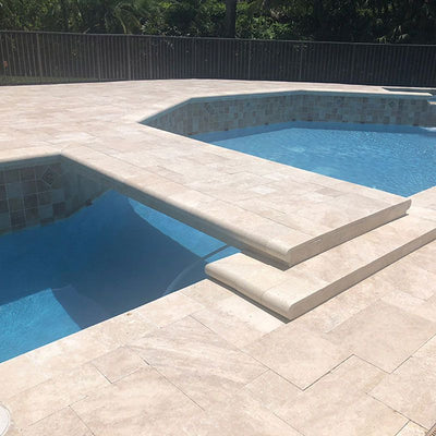 Ivory Travertine 16x24 5cm Tumbled Pool Coping - TILE AND MOSAIC DEPOT