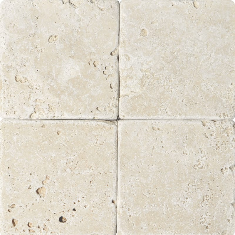 Ivory Travertine 4x4 Tumbled Tile - TILE AND MOSAIC DEPOT
