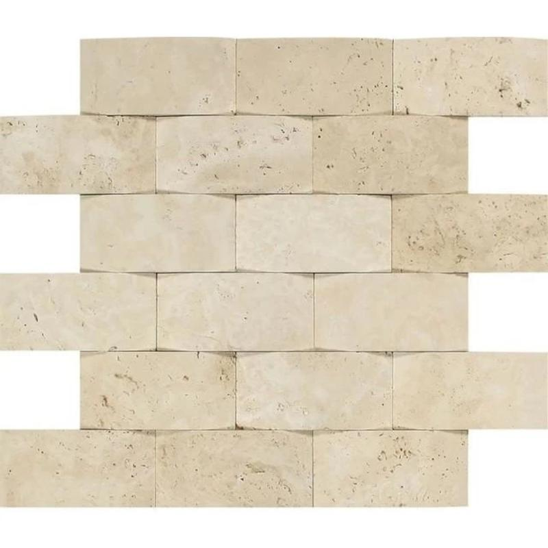 Ivory Travertine 2x4 Wavy Mosaic Tile - TILE AND MOSAIC DEPOT