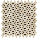 Ivory Travertine Tumbled 1x2 Diamond  Mosaic Tile - TILE AND MOSAIC DEPOT