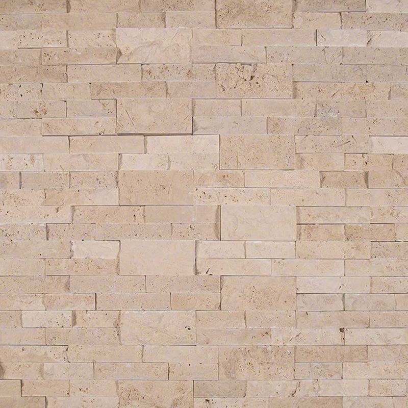 Ivory Travertine 6x24 Stacked Stone Ledger Panel - TILE AND MOSAIC DEPOT