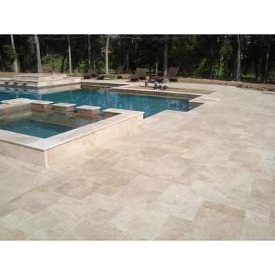 Ivory Travertine 3cm Paver Tumbled Versailles Pattern - TILE AND MOSAIC DEPOT