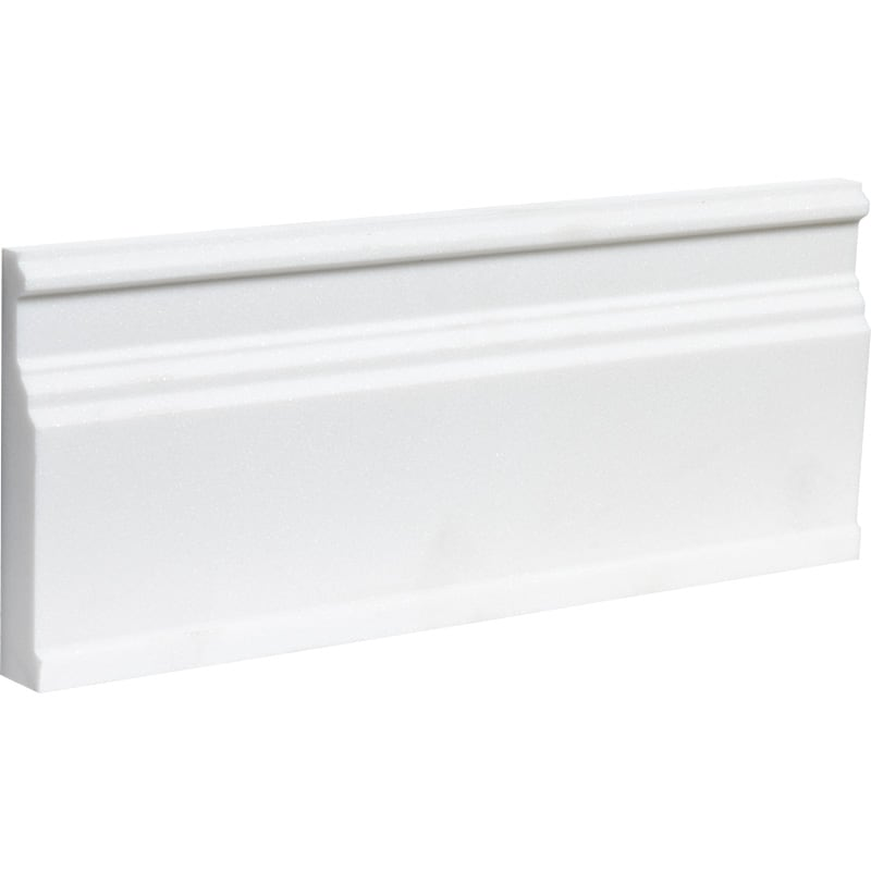 Bianco Lago Marble 5 1/16x12 Honed Baseboard Molding - TILE AND MOSAIC DEPOT
