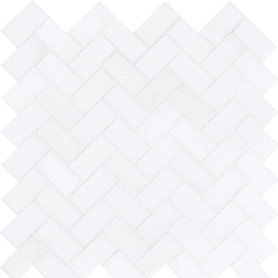 Bianco Lago Marble 1x2 Herringbone Honed Mosaic Tile - TILE AND MOSAIC DEPOT