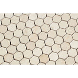 Crema Marfil Marble 1x1 Hexagon Honed Mosaic Tile - TILE AND MOSAIC DEPOT