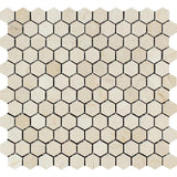Crema Marfil Marble 1x1 Hexagon Polished Mosaic Tile - TILE AND MOSAIC DEPOT