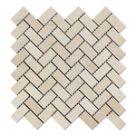 Crema Marfil Marble 1x2 Herringbone Honed Mosaic Tile - TILE AND MOSAIC DEPOT