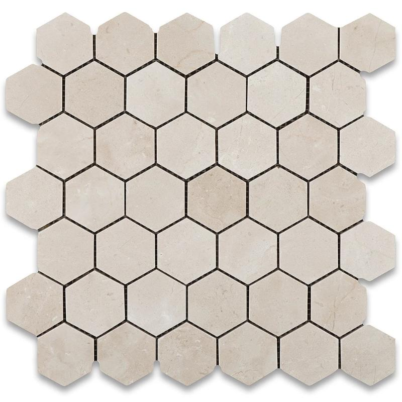 Crema Marfil Marble 2x2 Hexagon Polished Mosaic Mosaic Tile - TILE AND MOSAIC DEPOT