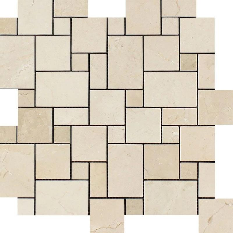 Crema Marfil Marble Micro Mini Pattern Polished Mosaic Tile - TILE AND MOSAIC DEPOT