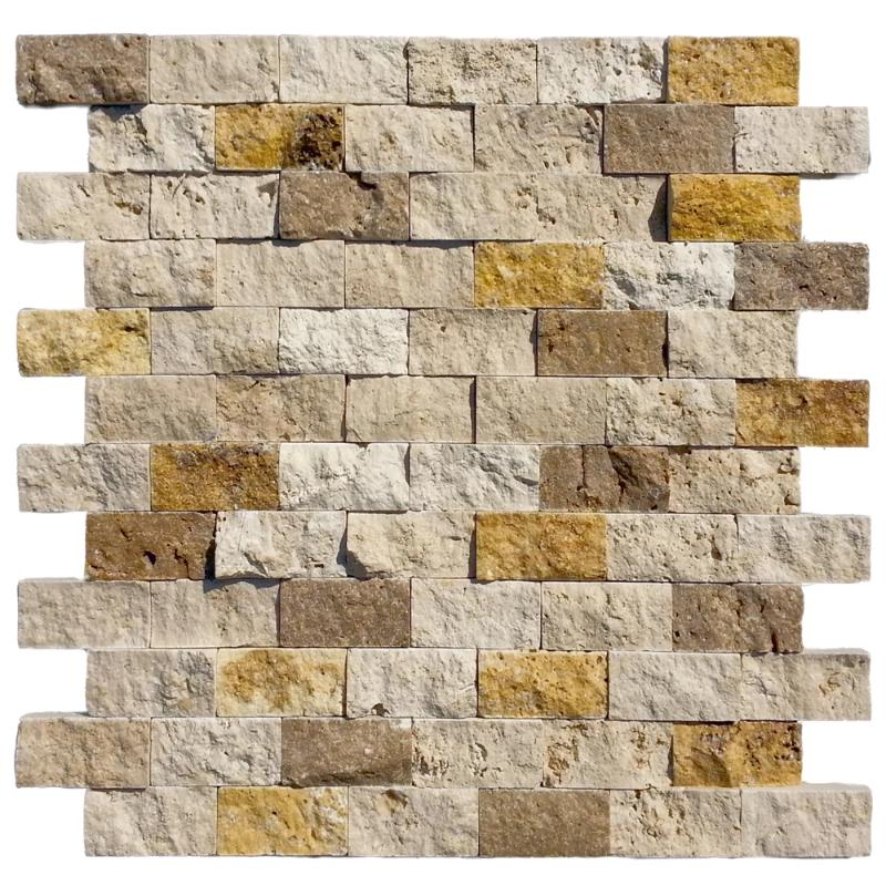 Mixed Travertine 1x2 Split Face Mosaic Tile - TILE AND MOSAIC DEPOT