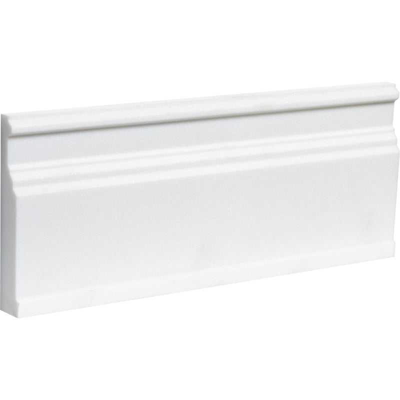 Mont Blanc White Marble Honed Baseboard Molding - TILE AND MOSAIC DEPOT