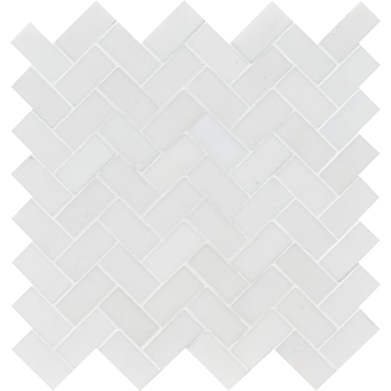 Mont Blanc White Marble 1x2 Herringbone Honed Mosaic Tile - TILE AND MOSAIC DEPOT
