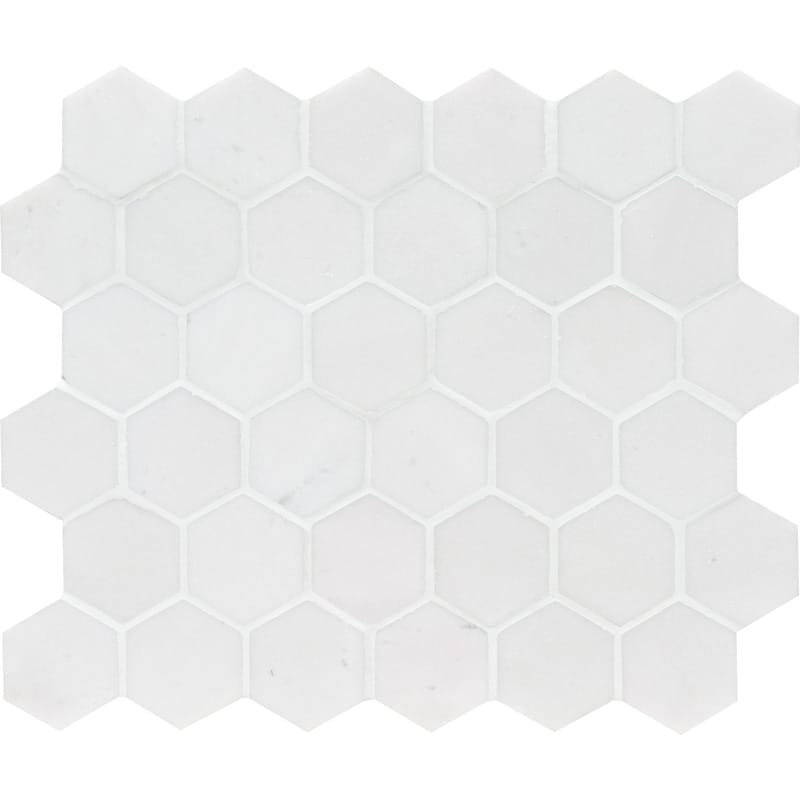 Mont Blanc White Marble 2X2 Hexagon Honed Mosaic Tile - TILE AND MOSAIC DEPOT
