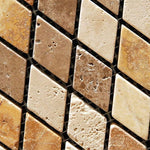 Mixed Travertine 1x2 Diamond Tumbled Mosaic Tile - TILE AND MOSAIC DEPOT
