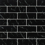 Nero Marquina 3x9 Subway Glass Mosaic Tile - TILE AND MOSAIC DEPOT