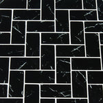 Nero Marquina 2x4 Herringbone Glass Mosaic Tile - TILE AND MOSAIC DEPOT