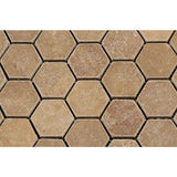 Noce Travertine 2x2 Hexagon Tumbled Mosaic Tile - TILE AND MOSAIC DEPOT