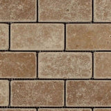 Noce Travertine 2x4 Tumbled Mosaic Tile - TILE AND MOSAIC DEPOT