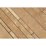 Noce Travertine Random Strip Honed Mosaic Tile - TILE AND MOSAIC DEPOT