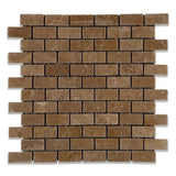 Noce Travertine 1x2 Tumbled Mosaic Tile - TILE AND MOSAIC DEPOT