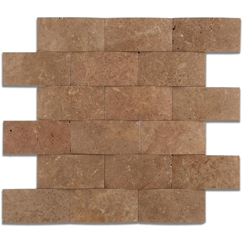 Noce Travertine 2x4 Wavy Honed Mosaic Tile - TILE AND MOSAIC DEPOT