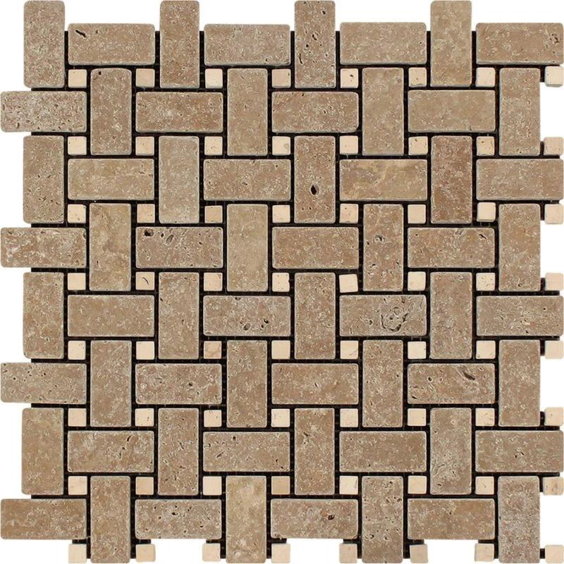 Noce Travertine Tumbled Basketweave w/ Ivory Dots Mosaic Tile - TILE AND MOSAIC DEPOT