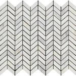 Asian Statuary (Oriental White) Marble Mini Chevron Polished Mosaic Tile - TILE & MOSAIC DEPOT