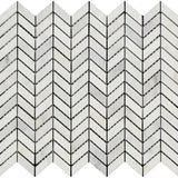 Asian Statuary (Oriental White) Marble Mini Chevron Polished Mosaic Tile - TILE AND MOSAIC DEPOT