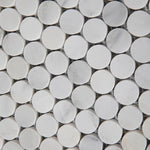 Asian Statuary (Oriental White) Marble Pennyround Honed Mosaic Tile - TILE AND MOSAIC DEPOT