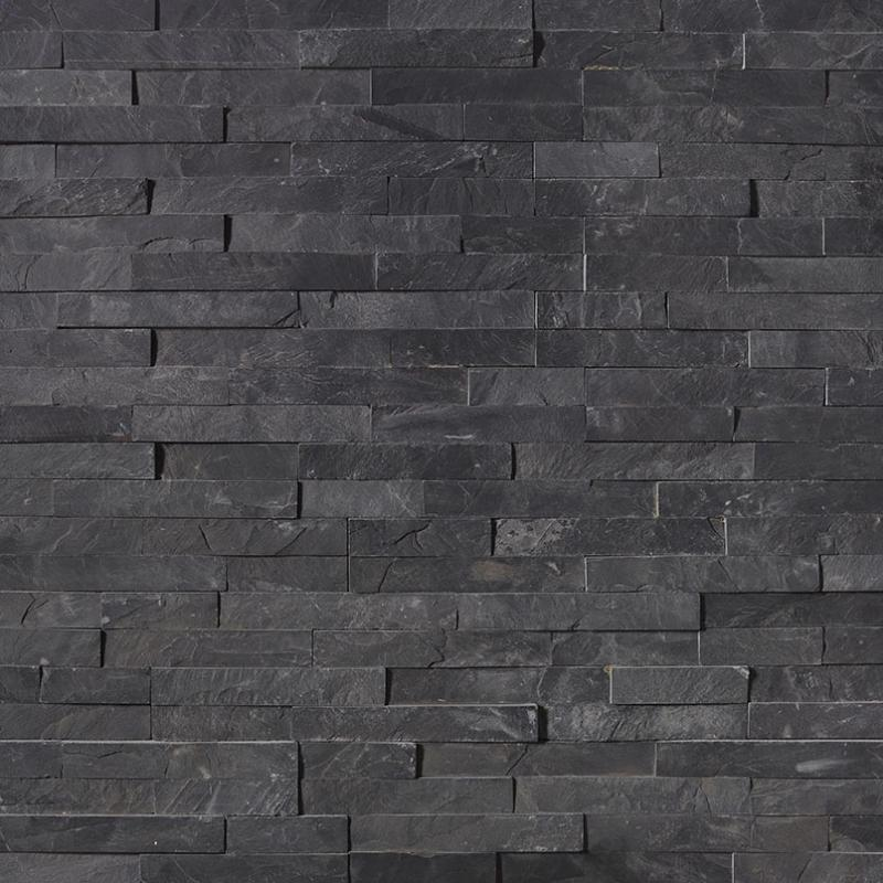 Black Slate 6x24 Stacked Stone Ledger Panel - TILE AND MOSAIC DEPOT