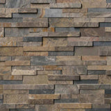 Rustic Golden 3D Slate 6x24 Stacked Stone Ledger Panel - TILE AND MOSAIC DEPOT