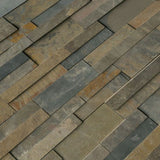 Rustic Gold 3D Slate 6x24 Stacked Stone Ledger Panel - TILE AND MOSAIC DEPOT