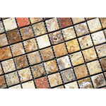 Scabos Travertine 1x1 Tumbled Mosaic Tile - TILE AND MOSAIC DEPOT