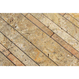 Scabos Travertine Random Strip Honed Mosaic Tile - TILE AND MOSAIC DEPOT