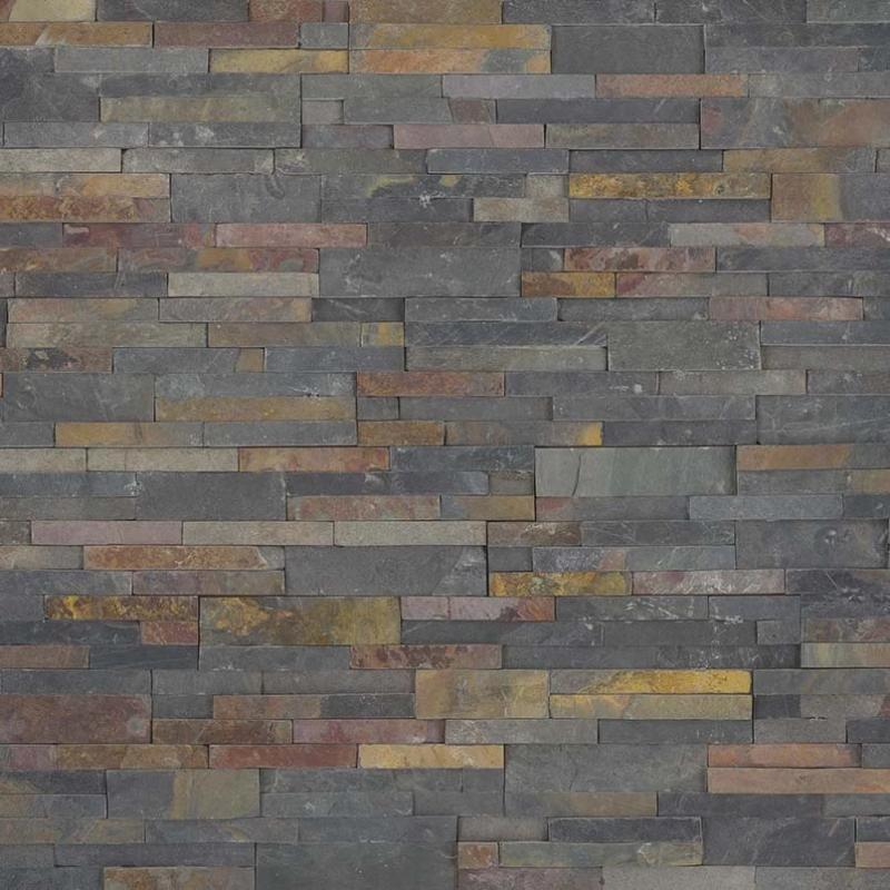 Multicolor Slate 6x24 Stacked Stone Ledger Panel - TILE AND MOSAIC DEPOT