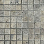 Silver Travertine 1x1 Tumbled Mosaic Tile - TILE AND MOSAIC DEPOT