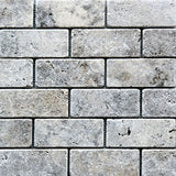 Silver Travertine 2x4 Tumbled Mosaic Tile - TILE AND MOSAIC DEPOT