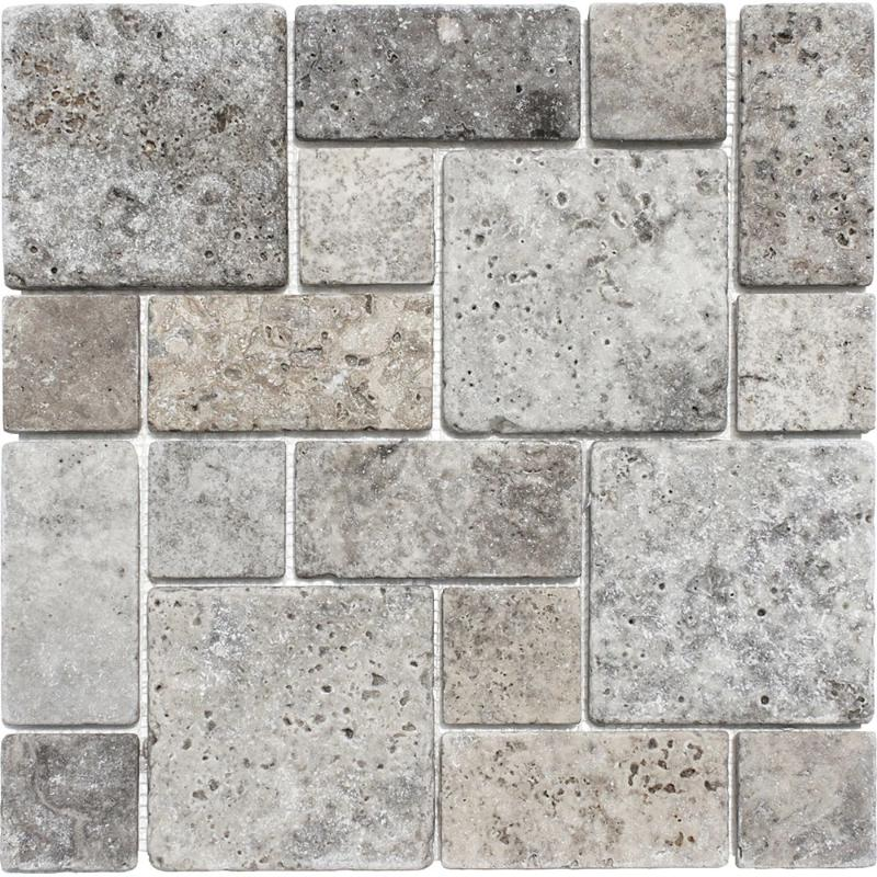 Sample Silver Travertine Mini Pattern Tumbled Mosaic Tile - TILE AND MOSAIC DEPOT