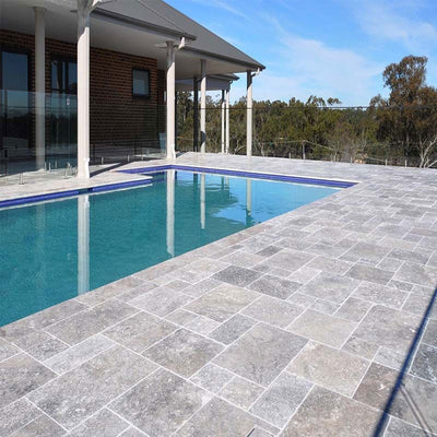Silver Travertine 3cm Paver Tumbled Versailles Pattern - TILE AND MOSAIC DEPOT