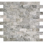 Silver Travertine 1x2 Split Face Mosaic Tile - TILE AND MOSAIC DEPOT