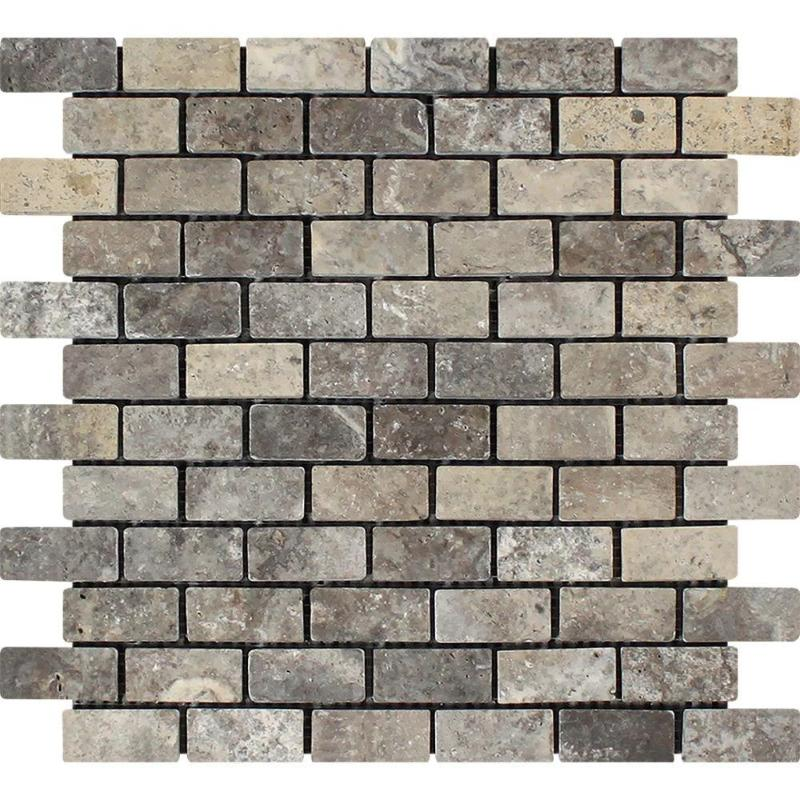 Silver Travertine 1x2 Tumbled Mosaic Tile - TILE AND MOSAIC DEPOT