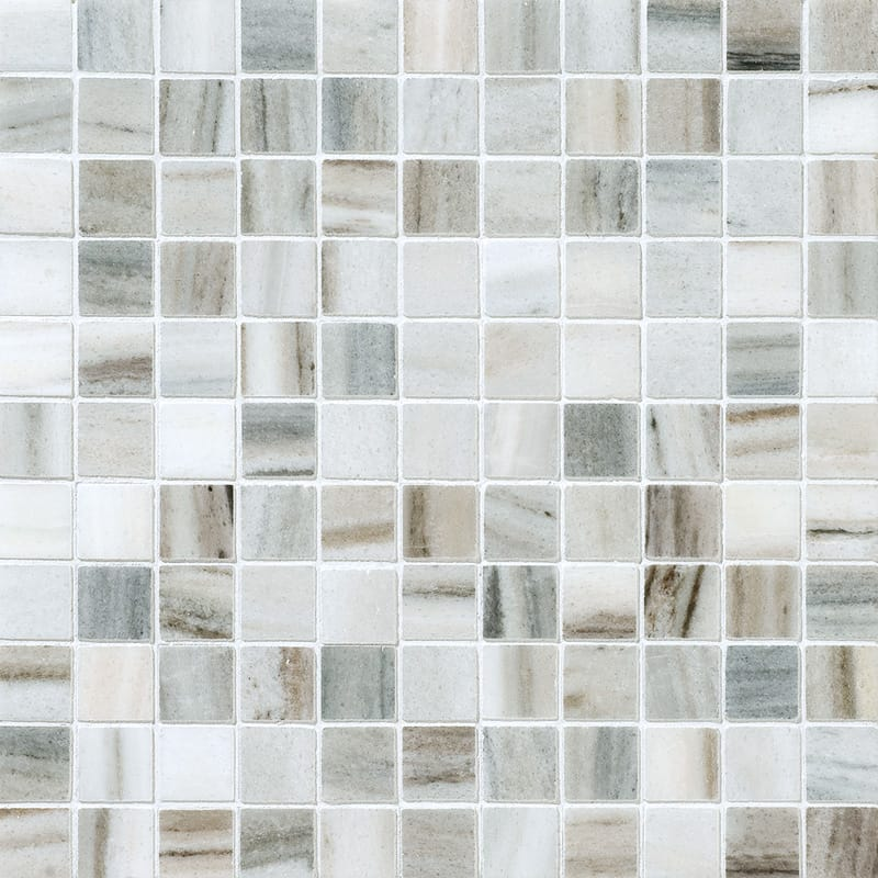 Olympus Cream 1X1 Polished Marble Mosaic Tile - TILE AND MOSAIC DEPOT