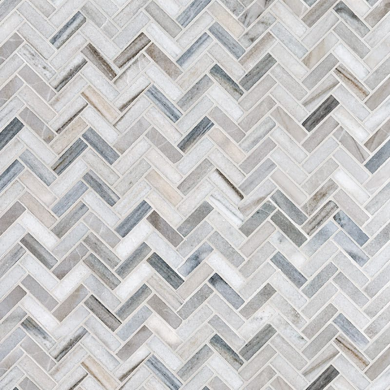 Olympus Cream Marble 5/8x2 Herringbone Honed Mosaic Tile - TILE AND MOSAIC DEPOT