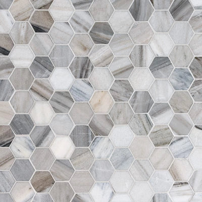Olympus Cream Marble 2X2 Hexagon Polished Marble Mosaic Tile - TILE AND MOSAIC DEPOT