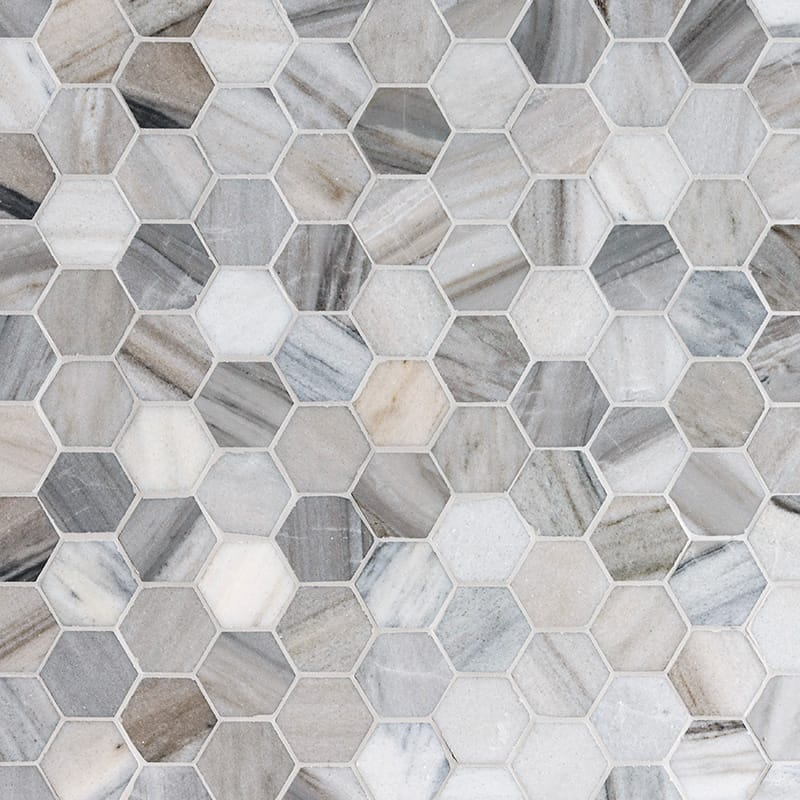 Olympus Cream Marble 2X2 Hexagon Honed Marble Mosaic Tile - TILE AND MOSAIC DEPOT